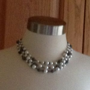 Jewelry - GIVENCHY-Hematite/Faux Pearl Collar Necklace - NWT
